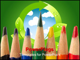PowerPoint Template - acro shot of colored pencils with all of them dull except the green one which is sharp and above th