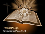 PowerPoint Template - Open Holy Bible with a daffodil in sepia mode.