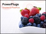 PowerPoint Template - Fresh berries in an ornate white bowl on a place mat.