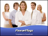 PowerPoint Template - A business woman heads up a business team of professionals