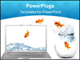 PowerPoint Template - Goldfish Escaping Their World Jumping Out of Their Aquarium Into a Virtual World