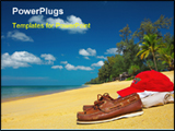 PowerPoint Template - In a sea beach with cap and shoes