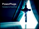 PowerPoint Template - Religious presentation concept image with abstract lighting from bible on hanging crucifix