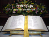 PowerPoint Template - View of an open Bible on an altar flowers in the background