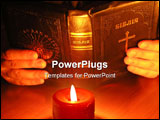 PowerPoint Template - On a photo a candle which on the Bible. A photo on a dark background of a table.