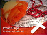 PowerPoint Template - Orange Rose With Rosary on open Bible