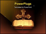 PowerPoint Template - Bible with gold cross in background