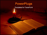 PowerPoint Template -  bible open on a table next to a candle. The light illuminating the bible is only from the candle. 