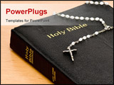 PowerPoint Template - Close up of a bible with rosary