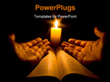 PowerPoint Template - A bible open on a table next to a candle