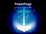 PowerPoint Template - vector illustration of a christian cross and light coming from the bible