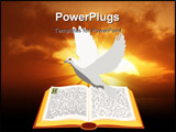 PowerPoint Template - Vector open Bible with dove flying over it.