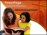 PowerPoint Template - Girls having a bible study on white background