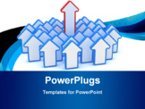 PowerPoint Template - One big red arrow in the group of small blue arrows