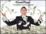 PowerPoint Template - A business man plays joyfully in a sea of dollar bills.