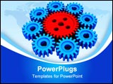 PowerPoint Template - The big gear from red plastic in an environment of eight small gears from Blue plastic