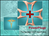 PowerPoint Template - female hands showing big medical cross symbol concept isolated
