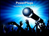 PowerPoint Template - A microphone gleaming with an audience in the background. Vector illustration
