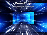 PowerPoint Template - Digital abstract blue background with rays and numbers