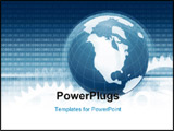PowerPoint Template - conceptual illustration of global use of information technology. earth globe binary code and gears
