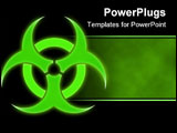 PowerPoint Template - green glowing bio hazard sign on a black background