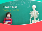 PowerPoint Template - happy children group in school classroom taking notes and learning biology and anatomy lessons with teacher