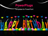 PowerPoint Template - Birthday greeting in multi coloured wax candles on blackhearts