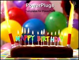 PowerPoint Template - Birthday cake with candles lit up and balloons on the background