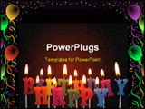 PowerPoint Template - lit birthday candles in different colors for use on a cake