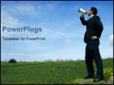 PowerPoint Template - Businessman speaking with a megaphone in a field