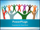 PowerPoint Template - Gradient blend of diverse group of symbol people of many colours hold their hands up in a ring.
