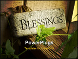 PowerPoint Template - Blessings plaque sitting on porch railing with vine in front.