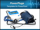 PowerPoint Template - Blue modern stethoscope and pressure monitor