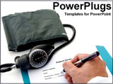 PowerPoint Template - hands of doctor taking blood pressure