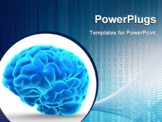 PowerPoint Template - Conceptual image of a blue brain over white - 3d render