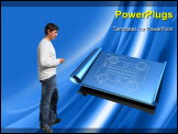 PowerPoint Template - 3d illustration of a set of unrolled blueprints over top of a shiny blue silk texture