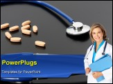 PowerPoint Template - blue stethoscope, medicine, diagnosis and health photo