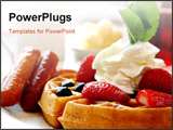 PowerPoint Template - lueberry waffles with maple syrup, topped with whipped cream and mint leaf. served with fresh straw