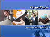 PowerPoint Template - lue template with business collage. Illustrates finance, communication, interaction, and global bus