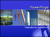 PowerPoint Template - Blue template with industry collage. Illustrates industrial business, factory, and chemical factory.