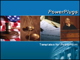 PowerPoint Template - Blue template with law/justice collage. Illustrates law, justice, authority, and freedom.