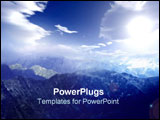 PowerPoint Template - Blue mystical mountains with blue skies.