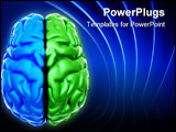 PowerPoint Template - Conceptual image of a blue end green brain over white - this is a 3d render illustration