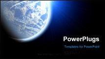PowerPoint Template - Blue planet earth in outer space. Copy space for your text