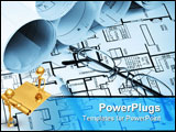 PowerPoint Template - Numerous blueprints reading glasses and a pencil