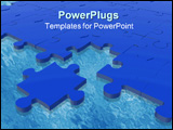PowerPoint Template - blue puzzle with one piece off the puzzle