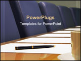 PowerPoint Template - a close-up of a conference room showing a row of chairs, a table