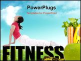 PowerPoint Template - Young beautiful woman during fitness time and exercising