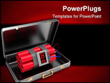 PowerPoint Template - 3d illustration of suitcase with dynamite inside over white background