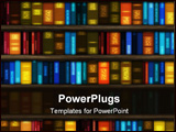 PowerPoint Template - Book case filled with colorful books and folders
